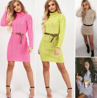 Polo Roll Neck Cable Knit Jumper Long Sleeve Sweater Mini Jumper Dress Womens