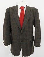 Harris Tweed Sakko Gr.54 grün kariert Einreiher 2-Knopf Wolle -C225