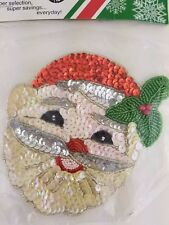 Sequin and Bead Santa Head Applique Seasonal Shop - Ugly Sweater Applique