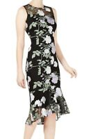 Calvin Klein Women's Dress Black Size 2 Sheath Floral Embroidered $169 #104