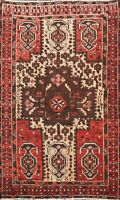 Antique Geometric Evenly Low Pile Hamedan Area Rug Traditional Wool 4'x6' Carpet