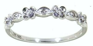 Solid 14K Gold 0.05CT Natural Diamond Floral Wedding Band Fine Jewelry For Women
