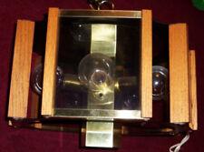 Mid Century Danish Modern Hanging Drum Lamp Wood Bubble light bulbs SMOKED GLASS