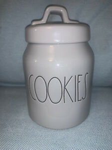 """Rae Dunn Kitchen LL """"COOKIES"""" Small Canister/Cookie Jar -All Gray/Black Font NEW"""