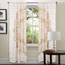 Indian Mandala White Gold Tulle 100%Cotton Door Window Curtain Drape Valances