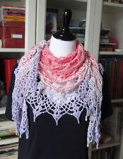 Unique Beaded Lilac Lace Handmade Wrap / Scarf / Shawl / Cape Crochet USA Knit