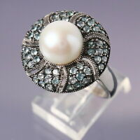 Size 10 White Pearl & Emerald Cluster Sterling Silver Dome Ring 7.6g