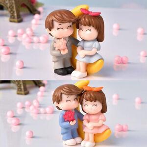 1 Pair Moon Giving Flowers Couple Figurine Miniature Garden Decoration Accessodn