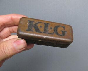 Vintage KLG SPARK PLUG TIN Old Classic Car Tractor Box Can
