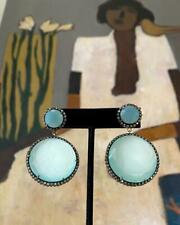 Large Chalcedony Round Earrings