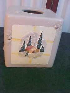 2006 Bacova Guild Bear Mountain Weighted Tissue Cube Holder