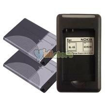 2 pcs BL-5C Battery + Wall Charger for Nokia 1100 3100 3120 6030 6230 6600 N70