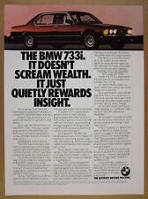 1983 BMW E23 733i Sedan color photo vintage print Ad