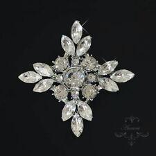 Swarovski Crystal Elements Brooch Victorian Flower Clear Silver Wedding Bridal