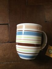 Cha Cult Striped Mug in Brown Blue and Green  New