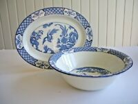 Woods Yuan Blue and White Serving Bowl & Oval Steak Plate or Serving Plate