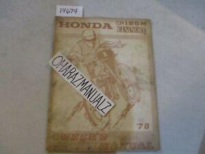 1978 HONDA CR125M ELSINORE Owners Owner's Owner Manual