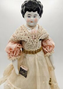 """1905 Hertwig Porcelain Doll """"Dorothy"""" - 18"""" - All Artisan Handsewn Extras!"""