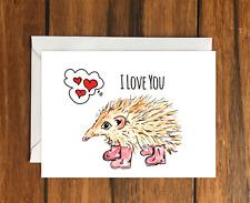 I love you Hedgehog greeting card A6