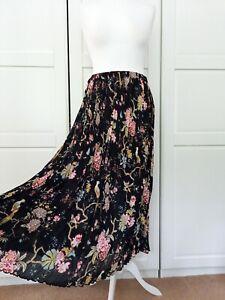 GP&J X H&M Black Floral Bird Print Pleated Plisse Chiffon Maxi Skirt Large