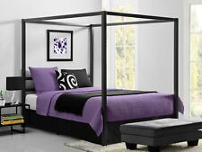Metal Canopy Bed Frame Queen Size W/ HeadBoard Platform Modern Bedroom NEW