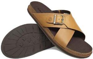{A2B5T} Men's Timberland Amalfi Vibes Cross Leather Slide Sandal *NEW*
