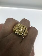 Vintage Anchor Mens Ring Golden Stainless Steel Size 9
