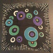 Black Antique Vtg Silk Chiffon Handkerchief Rolled Geometric Abstract Opera Mour