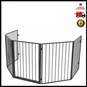Safety Stylish Fence Pet Fireplace Barrier Steel Black Free Standing Adjustable