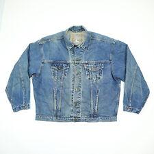 Vtg LEVIs Trucker Jean Jacket Mens XL Orange Tab Nicley Faded Blue Denim