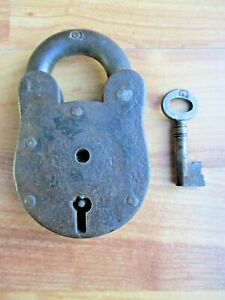Vintage Heavy Steel Padlock with Key,  Old Tool