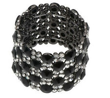 Joan Rivers Black Beaded Crystal Brilliance Small Stretch Bracelet QVC