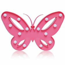 Decorative and Fun Light Up Pink Plastic Butterfly with 14 Warm White Lights