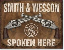 Vintage Replica Tin Metal Sign Smith & Wesson Spoken Pistol Revolver Gun sw 1849