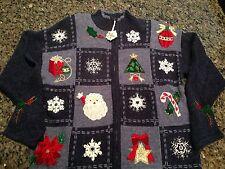 """Ugly"" Christmas Holiday Sweater Cardigan Blue  L  Snowflake Santa Beaded"