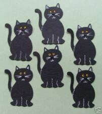 4 Halloween Black Cat Cats Kittens Samhain Lucky Cute Die Cuts (Card Toppers)