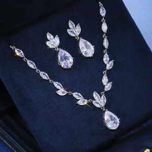 925 Silver,Rose Gold Jewelry Sets Earrings & Necklace Wedding Jewelry for Women