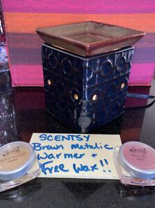 Scentsy Brown & Black wax warmer FREE WAX geometric metallic square design retir