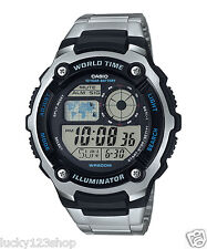 AE-2100WD-1A Black Casio Men's Watches Sport Stopwatch Steel Band Brand-New