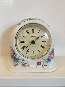 STAIGER Quartz Alarm Clock in Floral Ceramic Case New Battery Fully working