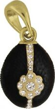 Faberge Egg Pendant / Charm with crystals 2.3 cm black #0810