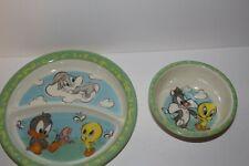 Zak Designs Looney Tunes Baby Bugs Melamine Tweety Bird Bugs Bunny Plate & Bowl