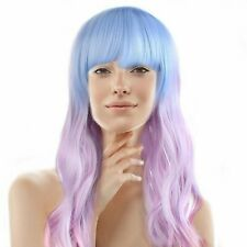 26 Wavy Multi-Color Lolita Mermaid Cosplay Party Wig (Light Blue, Pink, Purple)