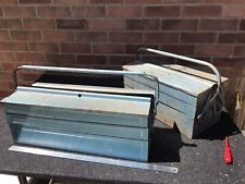Two VINTAGE METAL CANTILEVER TOOL STORAGE BOX BLUE