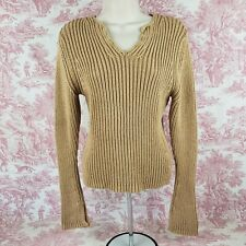 Mossimo Sweater Tan S Small Fitted Thick Chunky V-Neck Long Sleeve