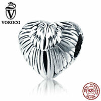 VOROCO Sterling Silver Guardian Angel Wing Charms With High Polish Vintage Charm