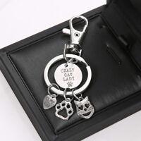 Silver Men Women Key Chain Ring Holder Fashion Cat Pendant Keyring Keychain Gift