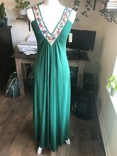 Vintage Hippie Maxi Dress Embroidered V Neck Plunge Green