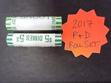 2017 P & D BU ROOSEVELT DIME BANK WRAPPED ROLL SET - 2 ROLLS