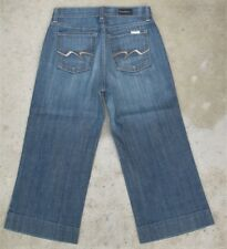 David Kahn Jeans Wide Leg Crops Capris Sz 4 Distressed Wash